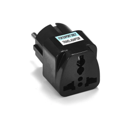 Adapter No brand WD-9, UK/US to EU Schuko, 220V, High Quality, Black - 17703