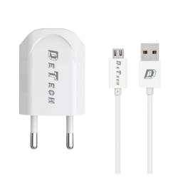 Φορτιστής δικτύου, DeTech, DE-11M, 5V/1A, 220V, Universal, 1 x USB, καλώδιο Micro USB, 1.0m, λευκό - 14115
