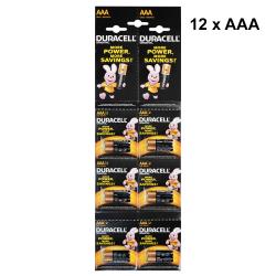 Alkaline batteries Duracell AAA, LR03/MN2400, 1.5V, 12pcs. - 87047